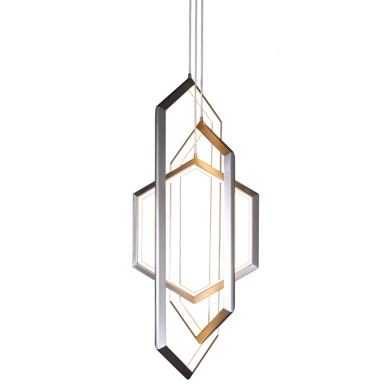 Orbis Vx46 Nickel Contemporary Geometric Modern Led Chandelier Light Fixture For