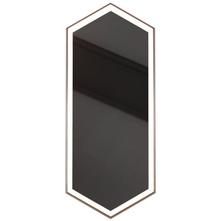 Brass Contemporary Hexagonal Edge Lit Vanity Powder Room or Makeup Mirror Kruos
