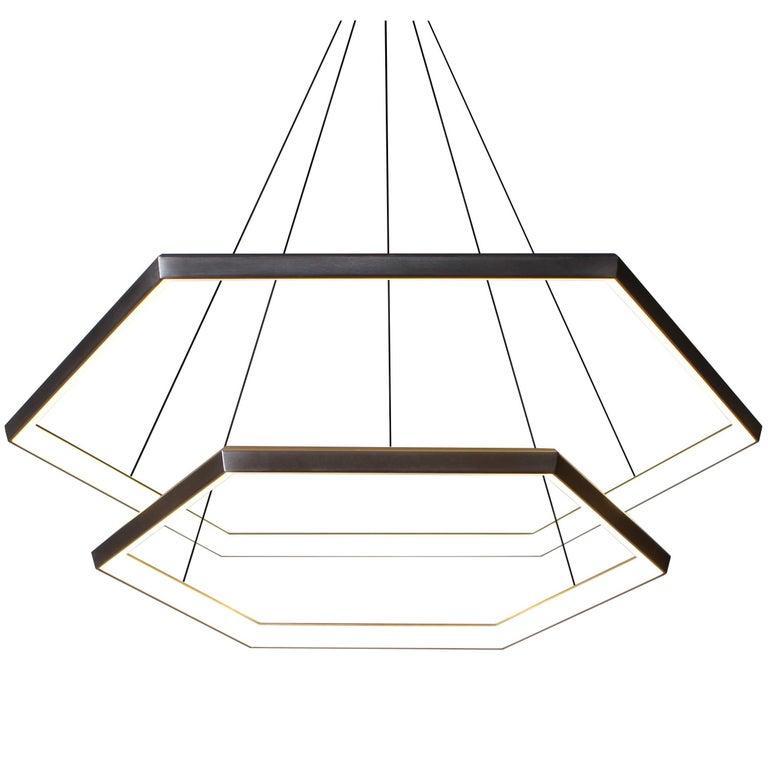 Contemporary Hexagon Geometric Modern Chandelier, Cascade HXC46 Light Fixture