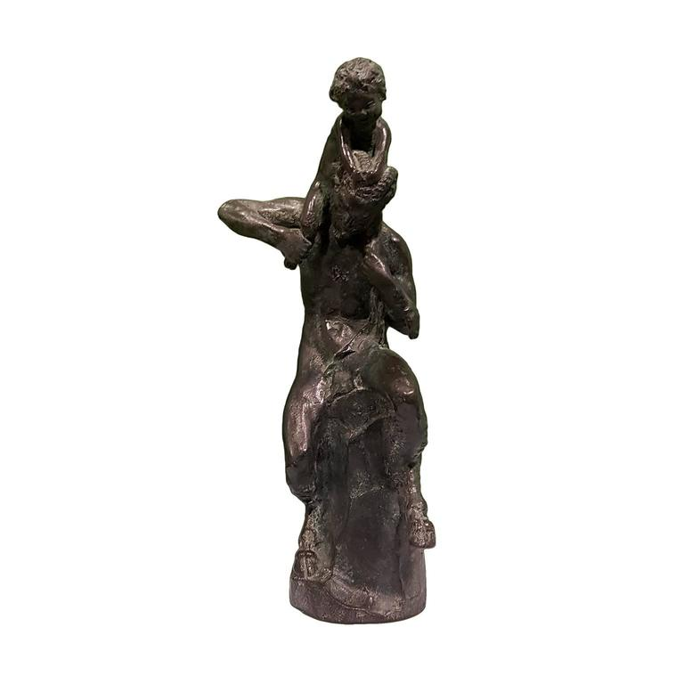 Satyr sculpture with a little faun on his shoulders, signed and numbered by Mistruzzi. 