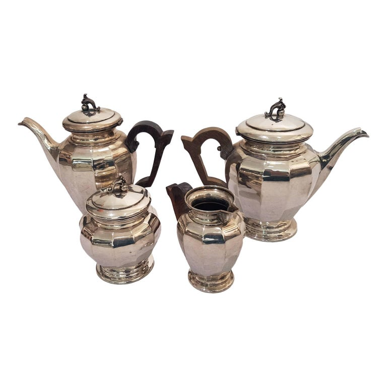 Tea and Coffee Silver Set, Silver 800 by Enrico Messulam for Bolli Milan For Sale