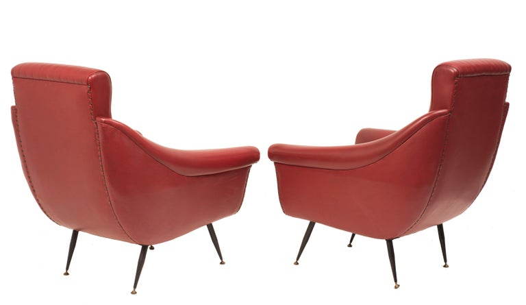 Industrial Vintage Pair of Armchairs, Italian Manufacture, 1950s For Sale