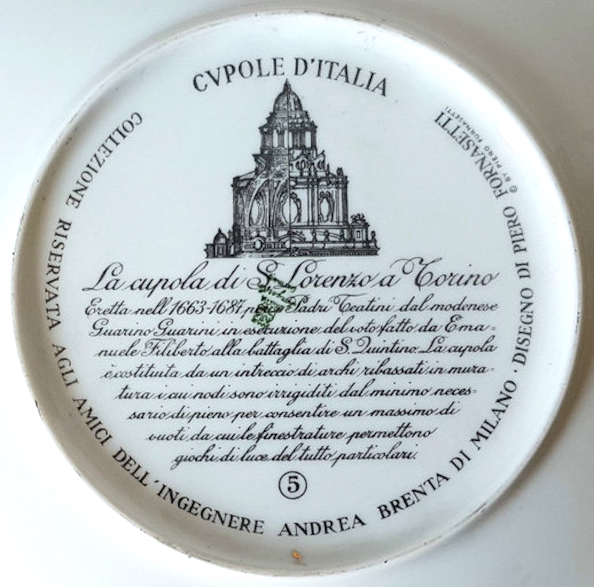 Tutto Luce Torino To piero fornasetti, vintage plate from the series of church domes cupole  d'italia