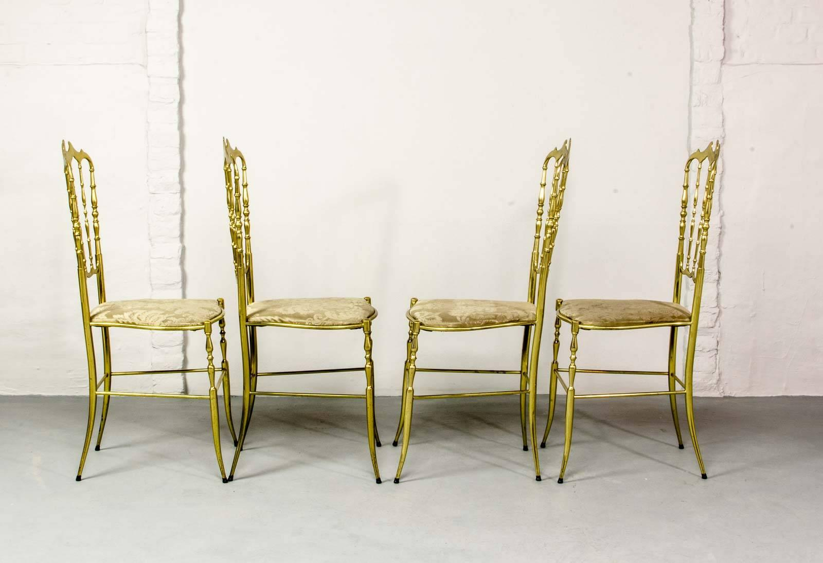 MidCentury Set of Polished Brass Chiavari Chairs by Giuseppe