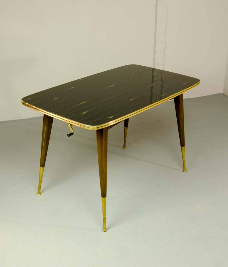 Elegant Brass And Glass Coffee Table: Mid-Century Elegant Brass With Black And Gold Painted