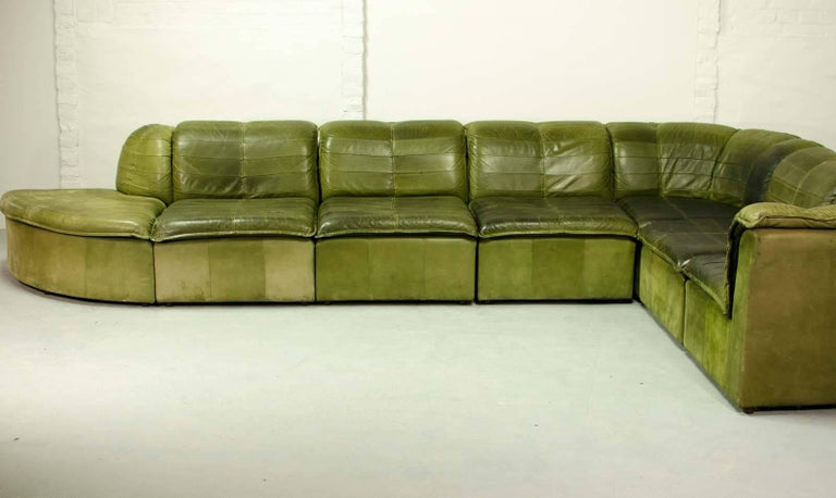 Mid Century Modular Patchwork Sofa By Laauser In Olive