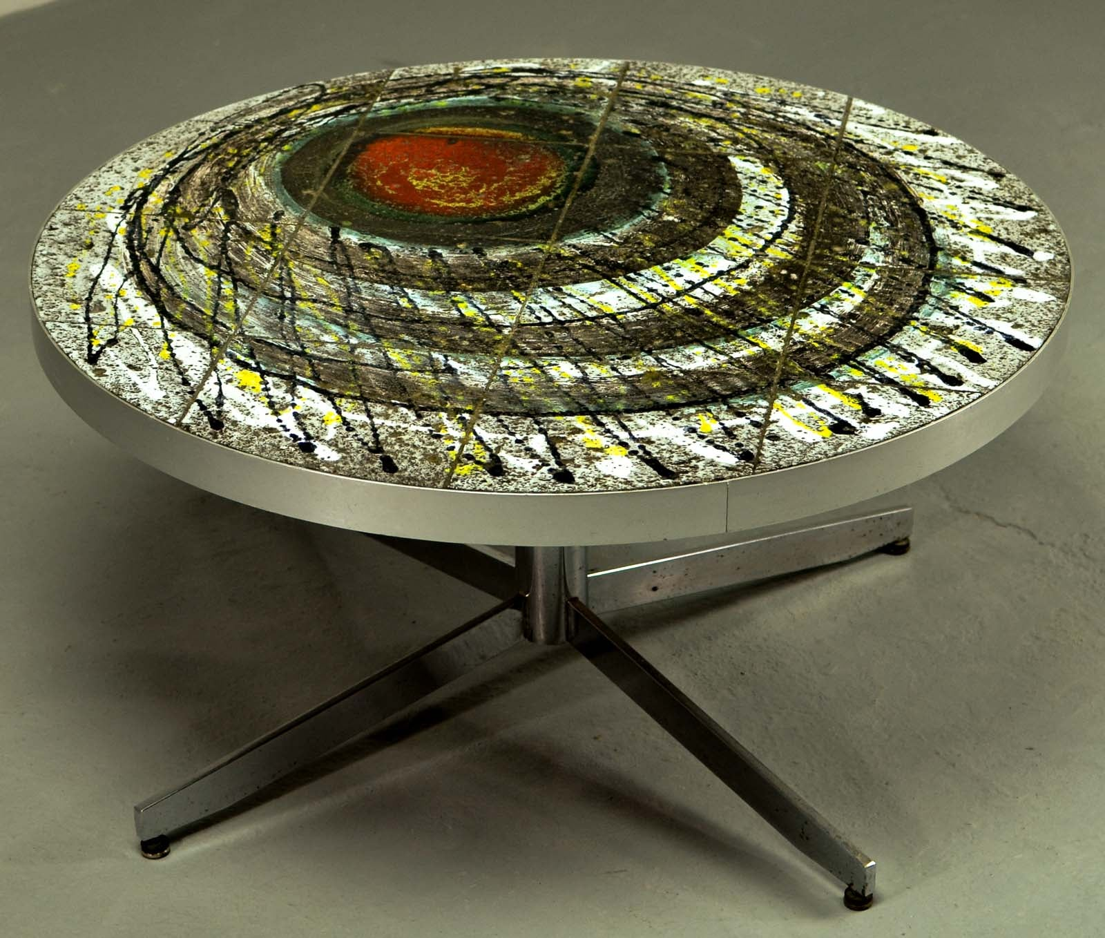 Brutalist Artistic Ceramic Tiles Coffee Table in the Style of