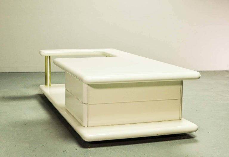 Exclusive Mid Century Italian Brass And White Gloss Lacquered Coffee Table For Sale At 1stdibs