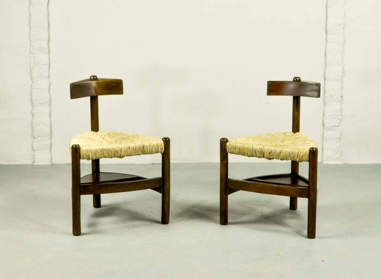 Rare Pair of Oak Tree and Rush Chairs in Style of Charlotte Perriand for Meribel 2