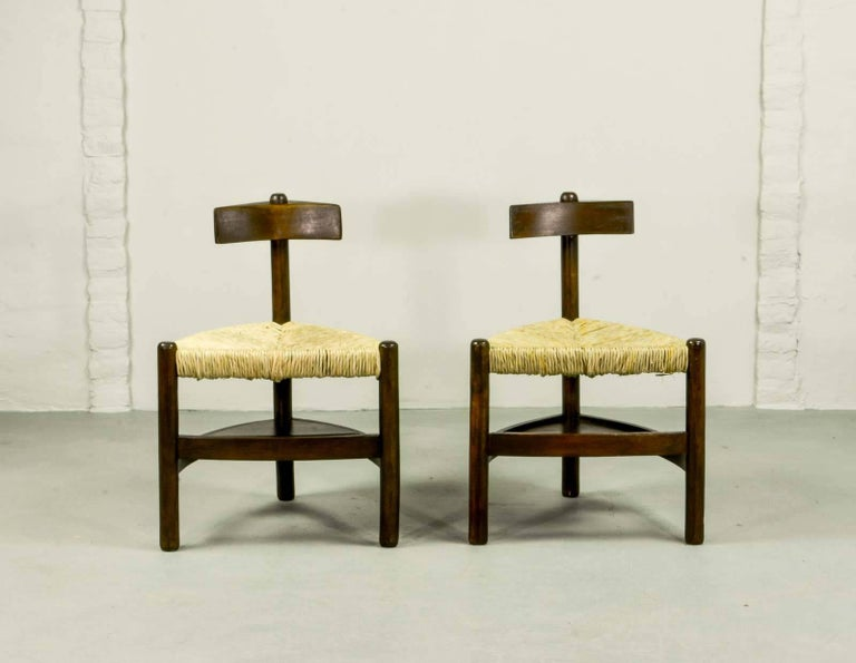 Rare Pair of Oak Tree and Rush Chairs in Style of Charlotte Perriand for Meribel 3