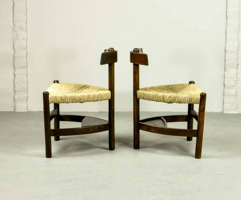 Rare Pair of Oak Tree and Rush Chairs in Style of Charlotte Perriand for Meribel 4