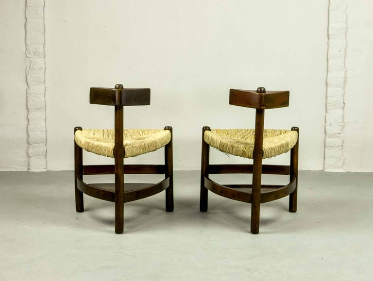 Rare Pair of Oak Tree and Rush Chairs in Style of Charlotte Perriand for Meribel 5