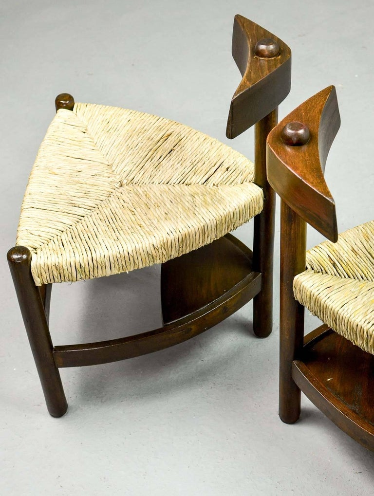 Rare Pair of Oak Tree and Rush Chairs in Style of Charlotte Perriand for Meribel 9