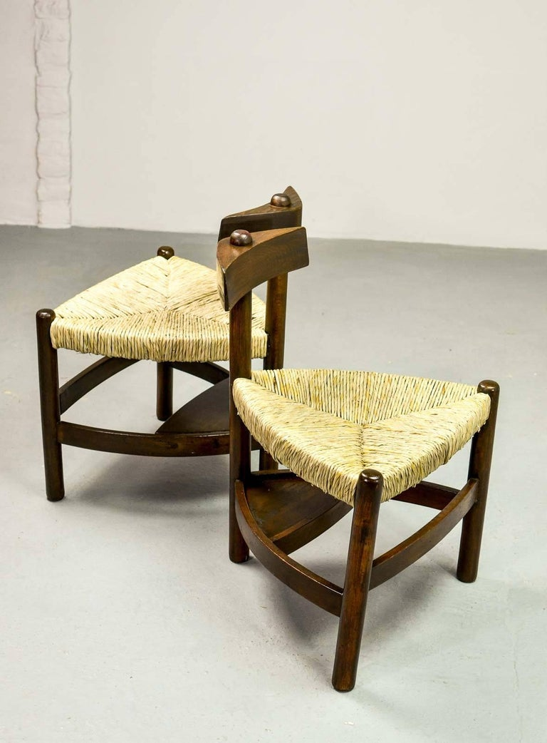 Rare Pair of Oak Tree and Rush Chairs in Style of Charlotte Perriand for Meribel 6