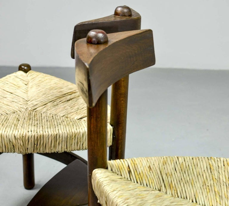 Rare Pair of Oak Tree and Rush Chairs in Style of Charlotte Perriand for Meribel 10