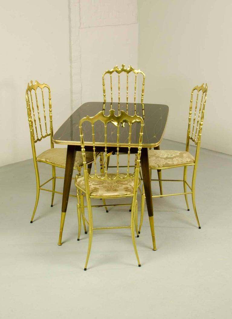 Midcentury Italian Design Set of Brass Chiavari Dining