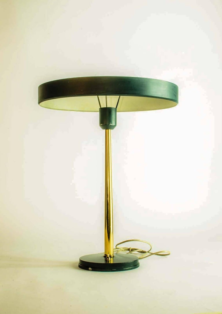 Pair of Timor 69 Table Lamps in Dark Green and Brass by ...