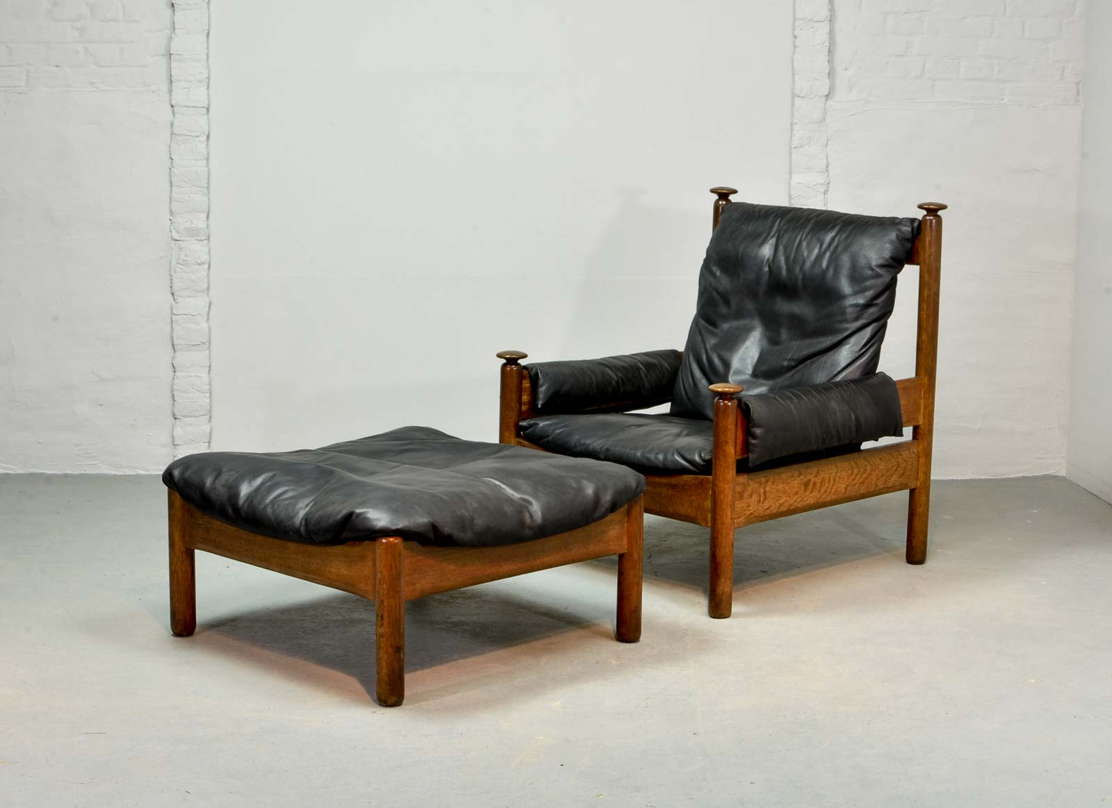 Sturdy Midcentury Black Leather Scandinavian Lounge Chair With Ottoman,  1960s At 1stdibs