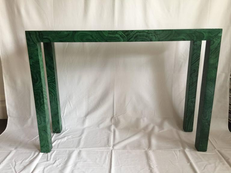 Custom faux malachite Parsons console table. Decorative painting by Katherine Jacobus in San Francisco. Would make a great statement in a foyer!
