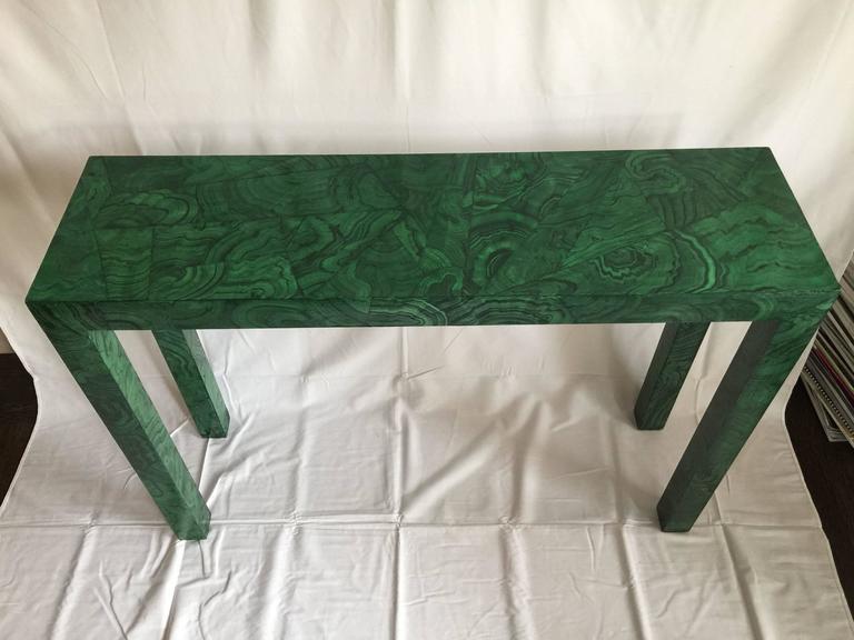 Faux Malachite Parsons Console Table 6