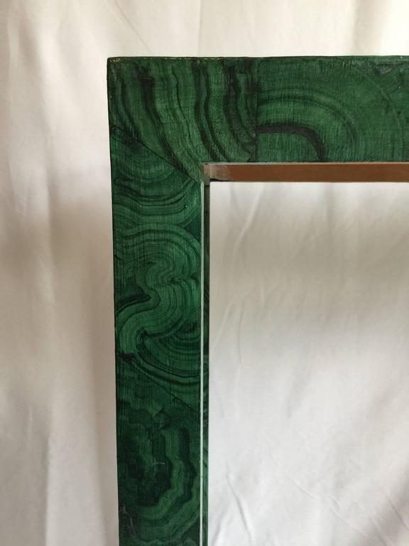 Modern Faux Malachite Parsons Console Table For Sale