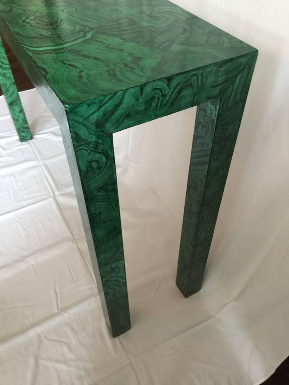 Hand-Painted Faux Malachite Parsons Console Table For Sale
