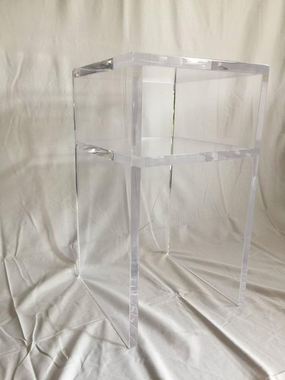 Custom Lucite Side Table with Shelf 3