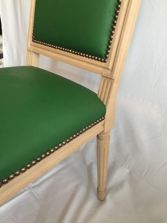 Louis XVI Style Dining or Side Chair in Green Leather In Excellent Condition For Sale In San Francisco, CA
