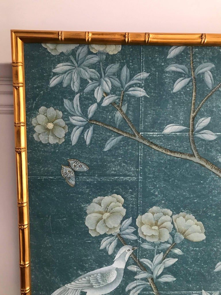 Faux Bamboo Framed Chinoiserie Panel For Sale