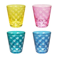 Modern Set of Four Glass Tumbler Hand-Engraved Sofina Boutique Kitzbuehel