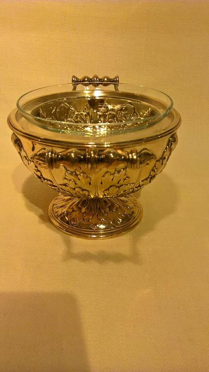 Art Noveau German Silver Caviar Server Bowl With Crystal