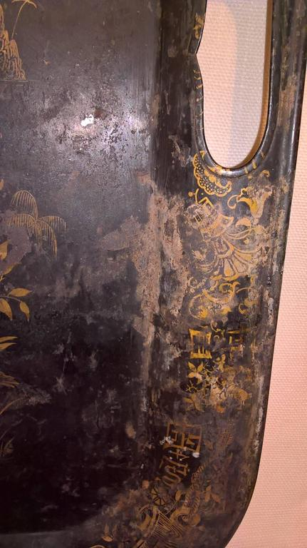 19th Century Large Chinoiserie Iron Tray with Black and Gold Detailing 3