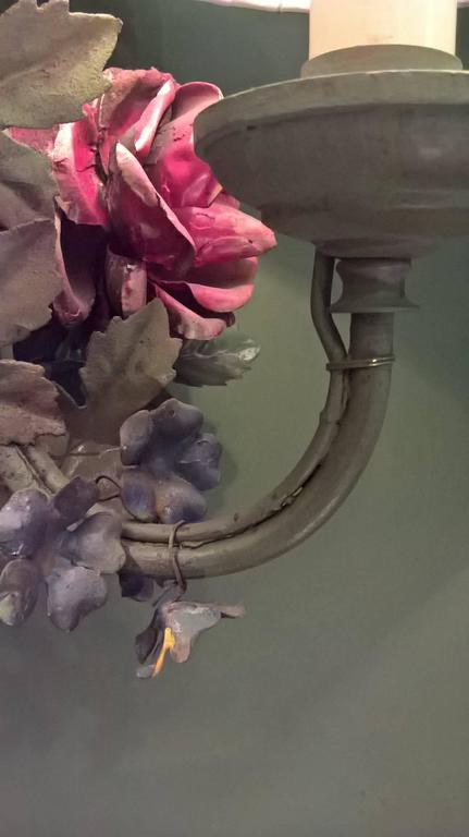 19th Century Austrian Toile Metal Flower Bouquet Wall Light For 1