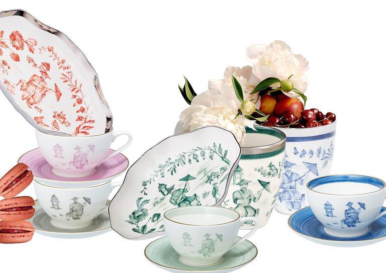 German Chinoiserie Handpainted Porcelain Dish Sofina Boutique Kitzbuehel For Sale