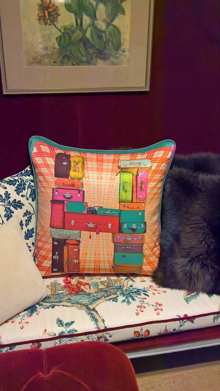 French  Vintage Hermes Silk Cushion on Blue Velvet For Sale