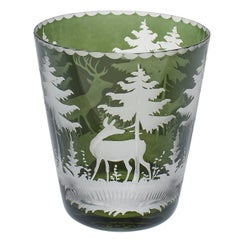 Black Forest Red Crystal Tumbler with Hunting Scene