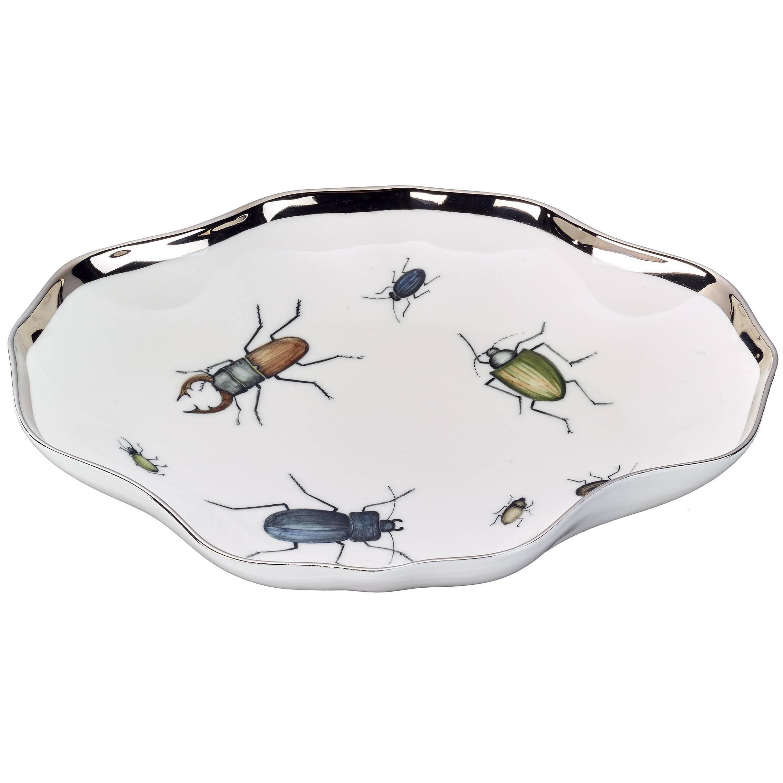 Modern German Porcelain Dish with Beetles by Sofina Porcelain Kitzbuehel