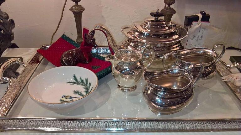 Art Nouveau German Silver Tray with Glass Bottom Koch & Bergfeld For Sale 1