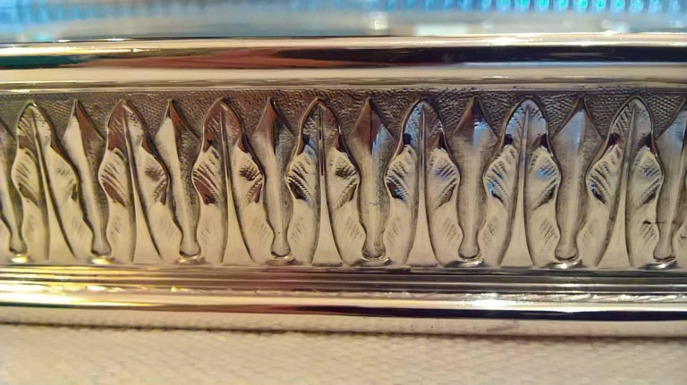 Hand-Crafted Art Nouveau German Silver Tray with Glass Bottom Koch & Bergfeld For Sale