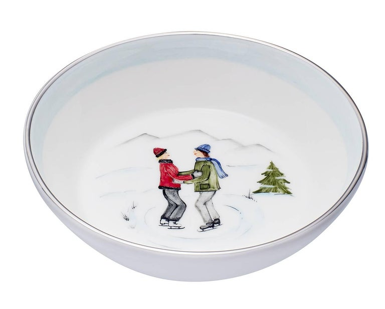 Country  Set of Two Porcelain Dishes with Winter Decor Sofina Boutique Kitzbuehel For Sale