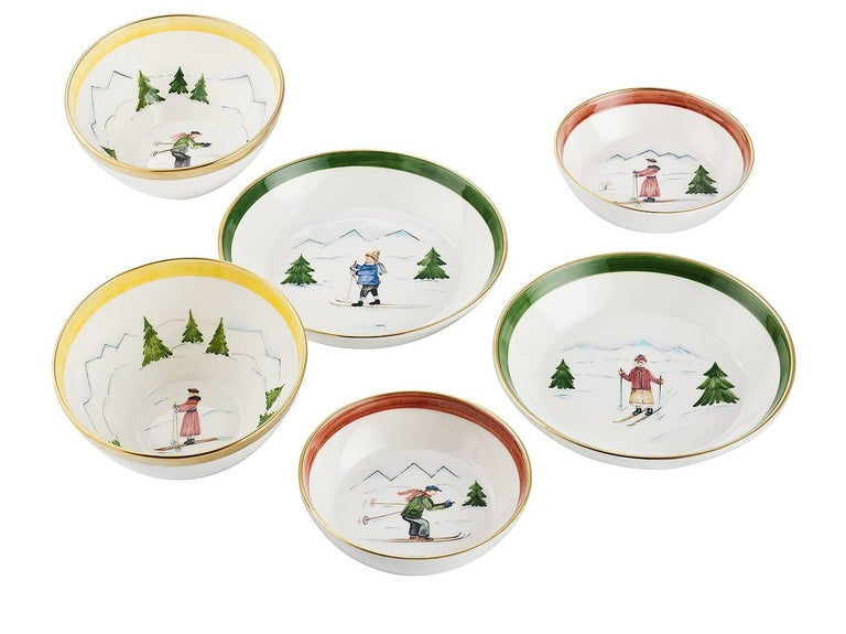 German  Set of Two Porcelain Dishes with Winter Decor Sofina Boutique Kitzbuehel For Sale