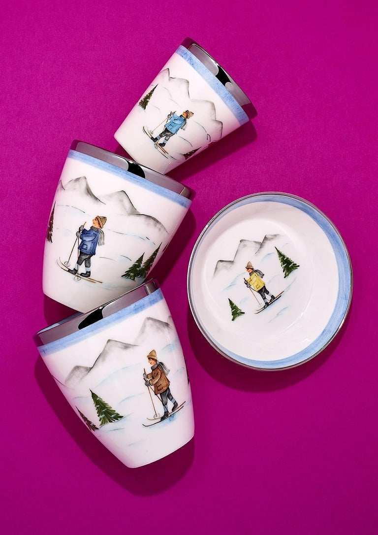 Hand-Painted  Set of Two Porcelain Dishes with Winter Decor Sofina Boutique Kitzbuehel For Sale