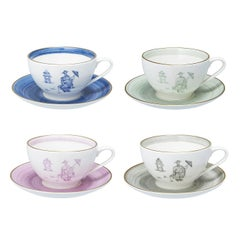 Chinoiserie Set of Four Hand-Painted Porcelain Cups