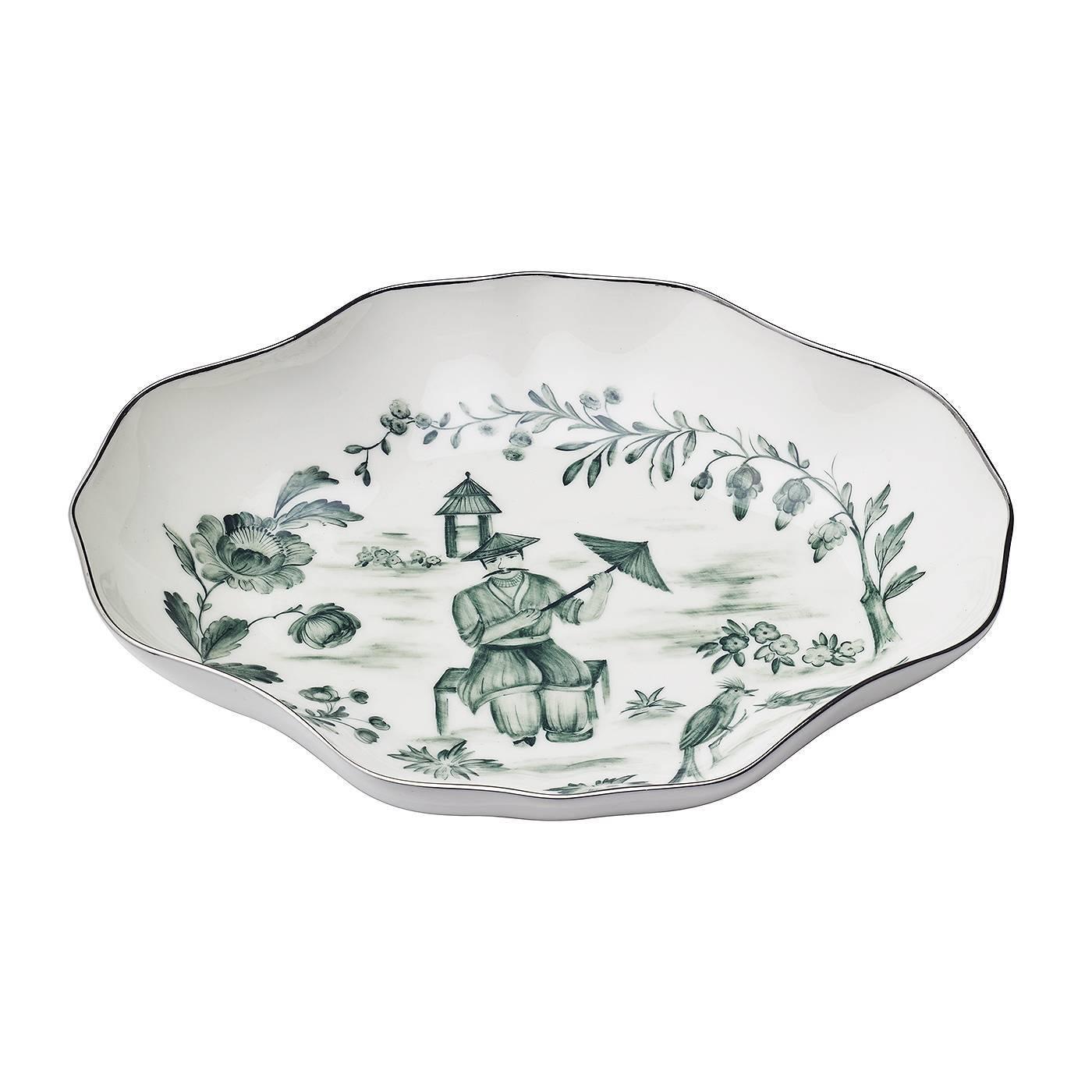 Handpainted Chinoiserie  Porcelain Pastry Dish Sofina Boutique Kitzbühel