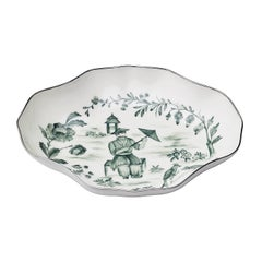 Chinoiserie Porcelain Pastry Dish in Oval Hand-Painted