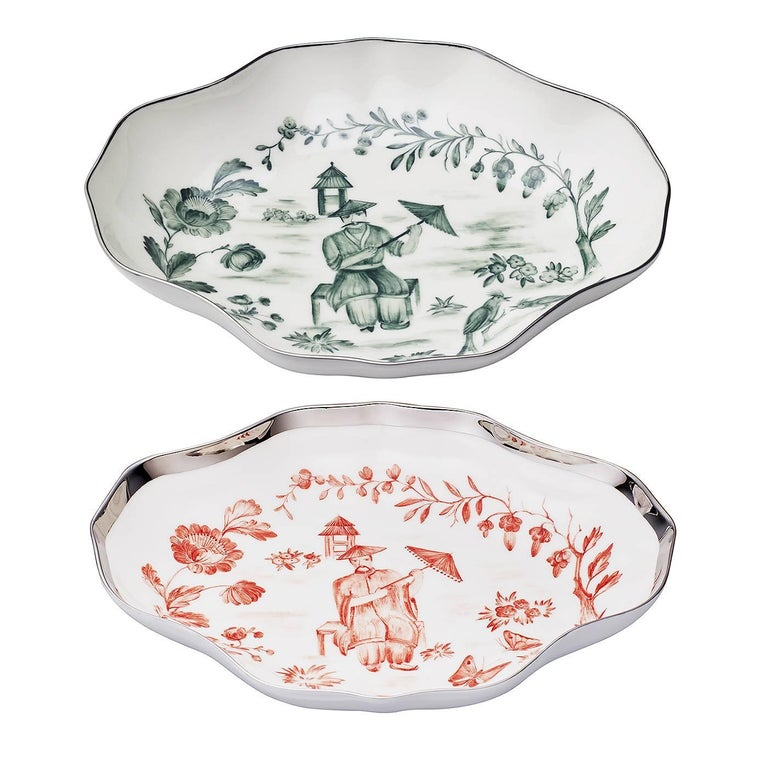 Hand-Painted Handpainted Chinoiserie  Porcelain Pastry Dish Sofina Boutique Kitzbühel For Sale