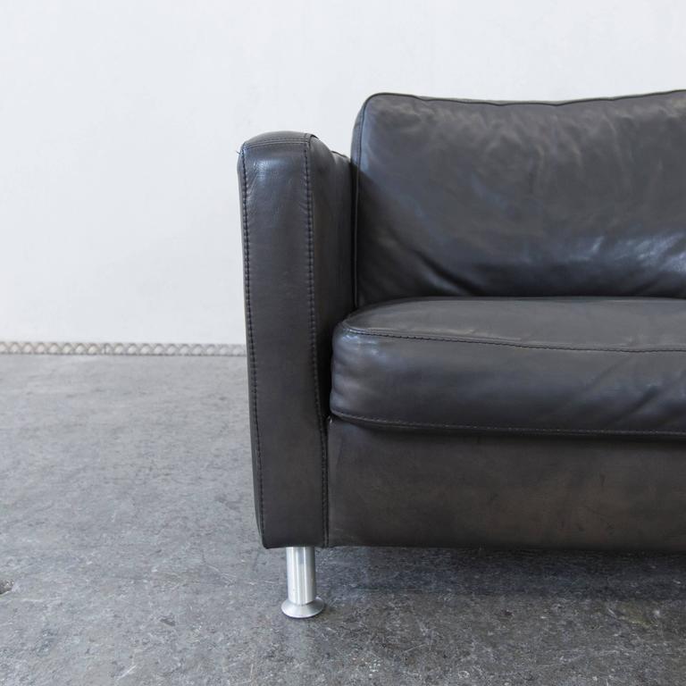 Machalke Saddle Leather Three-Seat Couch Brown Black 2