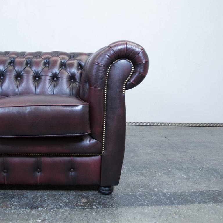 Red Leather Chesterfield Three Seat Sofa By M 246 Bel Art For