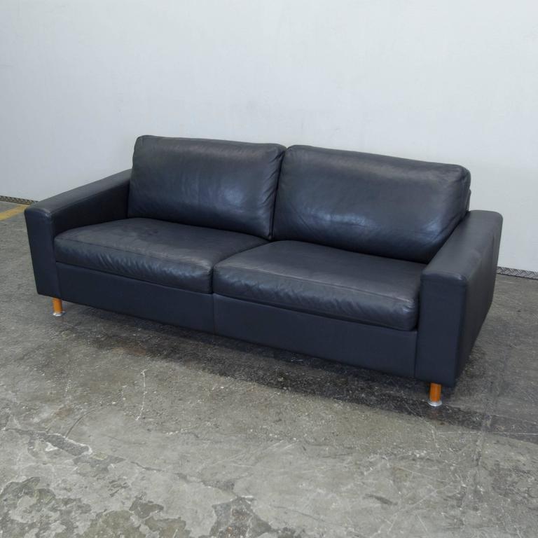 machalke leather three seat sofa in dark blue at 1stdibs. Black Bedroom Furniture Sets. Home Design Ideas