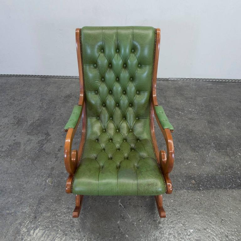 Vintage Chesterfield Rocking Chair In Green Leather At 1stdibs